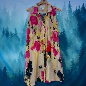 Anthropologie tabitha silk floral collared dress